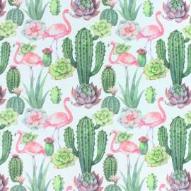 Tissu coton Cactus & flamingo - blanc x 10cm