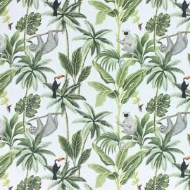 Tissu coton Paresseux & singe - blanc x 10cm