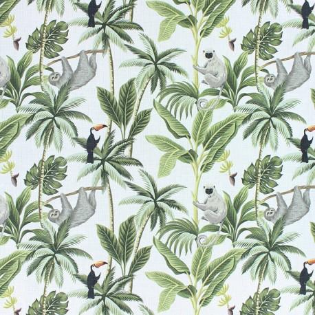 Cotton fabric - white Cactus & flamingo x 10cm