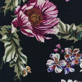 ♥ Coupon 60 cm X 140 cm ♥ Flowery Viscose fabric - Black Vitalia