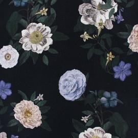 ♥ Coupon 60 cm X 140 cm ♥  Flowery Viscose fabric - Black Norina