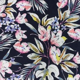 ♥ Coupon 20 cm X 140 cm ♥  Flowery Viscose fabric - Navy blue Maura
