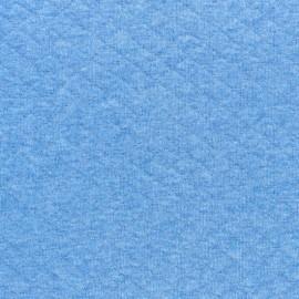 Tissu jersey matelassé losanges 10/20 - bleu clair chiné x 10cm