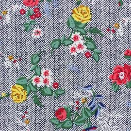 Flowery Viscose fabric - off-white Marcella x 10cm