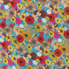 Flowery Viscose fabric - orange Renata x 10cm