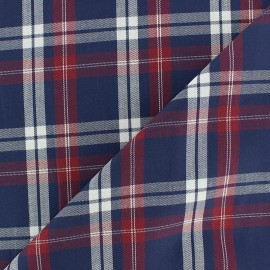 Tissu popeline écossais Archie - bleu x 10cm