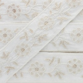 40 mm Embroidered Polycotton Trim - Cream Gaïa x 50cm
