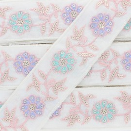 40 mm Embroidered Polycotton Trim - Pink Gaïa x 50cm