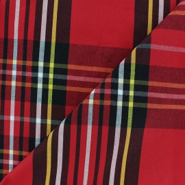 Scottish Poplin Cotton fabric - Red Graham x 10cm