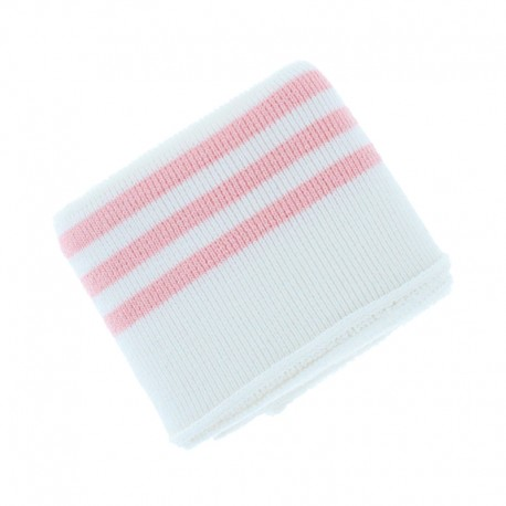 Poppy Edging Fabric (135x7cm) - Off White/Pink Triple Stripe