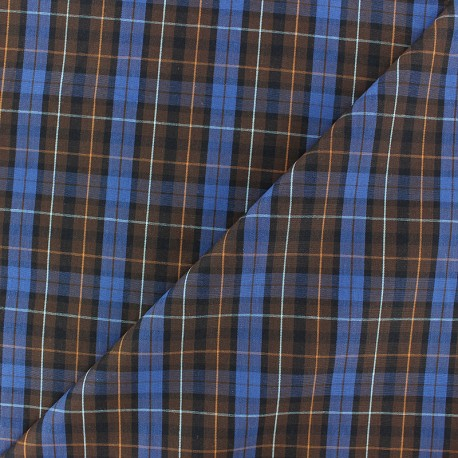 Tissu popeline Rob - bleu/marron x 10cm
