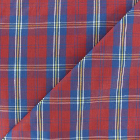 Poplin Cotton fabric - Blue/red Rob x 10cm