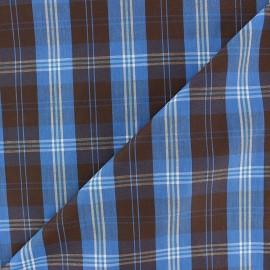 Tissu popeline Wallace - bleu/marron x 10cm