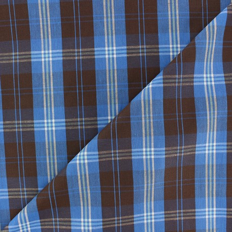 Poplin Cotton fabric - Blue/Brown Wallace x 10cm