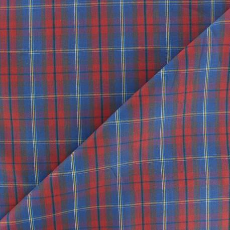 Tissu popeline Rennie - bleu/rouge x 10cm