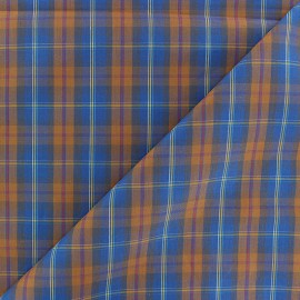 Poplin Cotton fabric - Blue/orange Rennie x 10cm