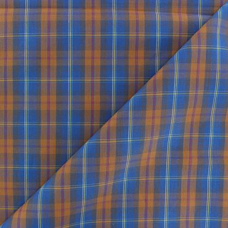 Tissu popeline Rennie - bleu/orange x 10cm