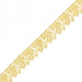 30 mm Lace Trim - Mustard Feuillantine x 1m