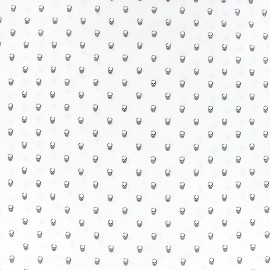 Poplin Cotton fabric - White skulls x 10cm