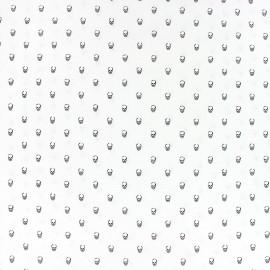 Tissu popeline Tête de mort - blanc x 10cm