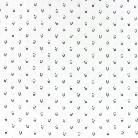 Poplin Cotton fabric - White skulls x 10cm