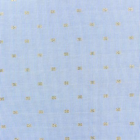 Tissu popeline rayé Lucille - bleu x 10cm