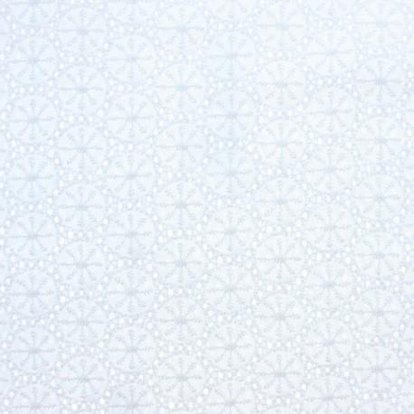 Tissu Voile de coton broderie anglaise Meghan - blanc x 10cm