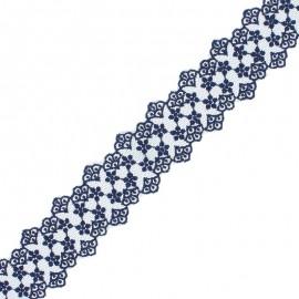 Ruban Dentelle Loren 38 mm - Bleu Marine x 1m