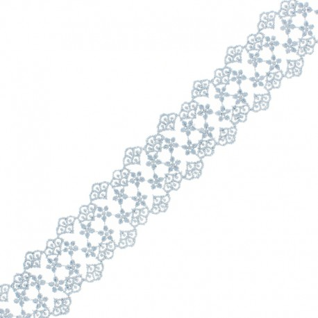 38 mm Lace Ribbon - Grey Loren x 1m