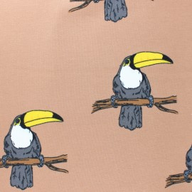 Organic Jersey Fabric - Green Mr Tucan Bloome Copenhagen x 10cm