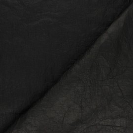 Crinkled paper aspect waterproof fabric - black x 10cm