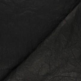 Tissu enduit froissé façon papier - noir x 10cm