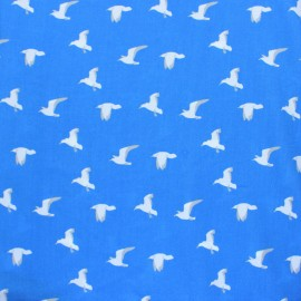 ♥ Coupon 30 cm X 140 cm ♥  Tissu Viscose Mouettes - bleu Viscose Fabric - Blue Seagull