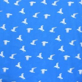 ♥ Coupon 30 cm X 140 cm ♥  Tissu Viscose Mouettes - bleu