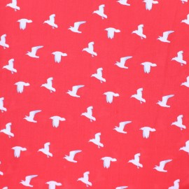 Viscose Fabric - red Seagull x 10cm
