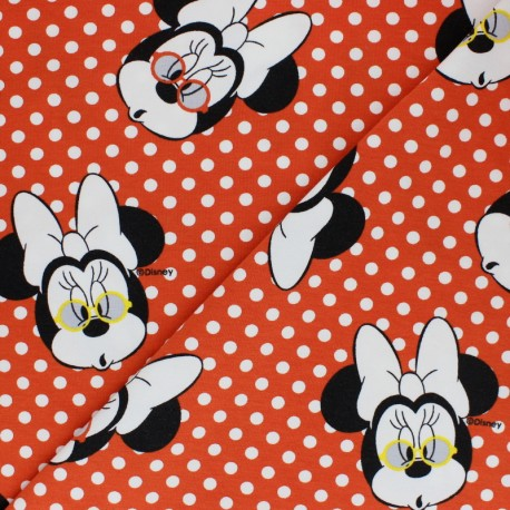 Cotton jersey fabric - Red Minnie Surprise x 10cm