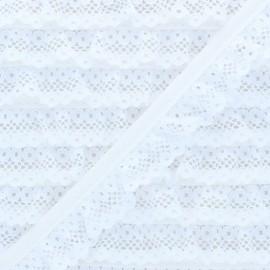 Galon Dentelle Froncée 20 mm - Blanc x 1m