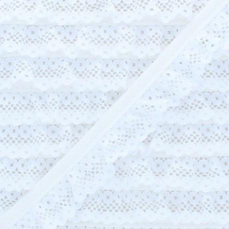 20 mm Gathered Lace Ribbon - White x 1m