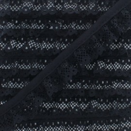 20 mm Gathered Lace Ribbon - Black x 1m
