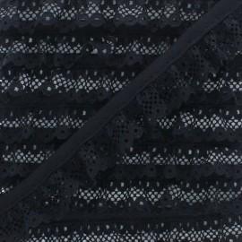 Galon Dentelle Froncée 20 mm - Noir x 1m