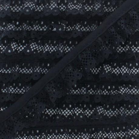 20 mm Gathered Lace Ribbon - Black x 1m