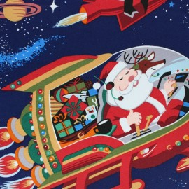 Tissu Alexander Henry Christmas time - Santa in space x 60cm