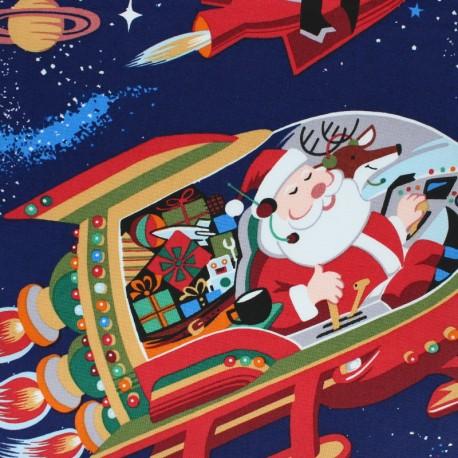 Tissu Alexander Henry Christmas time - Santa in space x 60cm