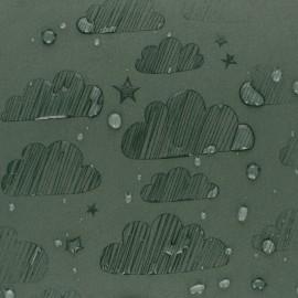 Tissu Softshell hydrosensible Nuage - vert kaki x 10cm