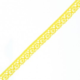 15 mm Lace Ribbon - Lemon Yellow Amélie x 1m