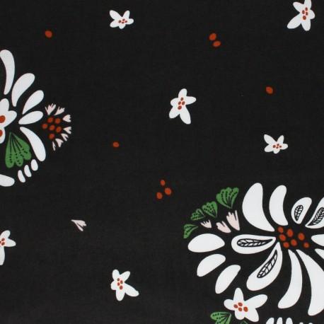 Tissu coton Cloud 9 - Bouquet Toss - noir x 10 cm