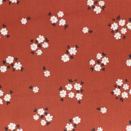 Cloud 9 cotton fabric - Brick red Pocket full of Posies x 10 cm