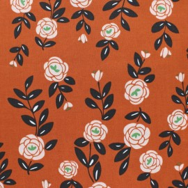 Cloud 9 cotton fabric - Brick red Rose Trellis x 10 cm