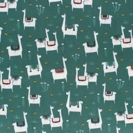 Cloud 9 cotton fabric - Dark green Llama life x 10 cm