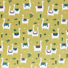 Cloud 9 cotton fabric - Dark green Llama life x 10 cm